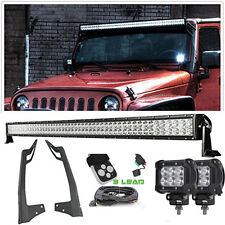 "50"" LED LIGHT BAR + MOUNT BRACKET 4"" Spot Pods FOR 07-15 Jeep JK Sahara Freedom"