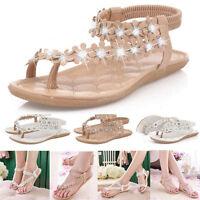 Women Boho Slippers Flip Flops Flat Sandals Clip Toe Beach Thong Shoes Summer #@