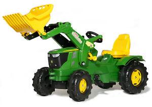 Rolly Toys Trettraktor Kindertraktor John Deere 6210 R Farmtrac mit Frontlader