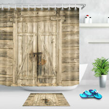 180Cm Polyester Curtains Shower Curtain Rustic Country Barn Door Waterproof Bath