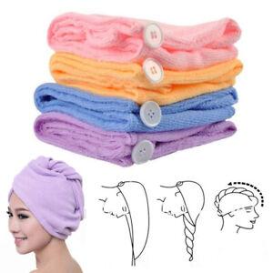 2 Turban Towels Twist Hair Quick Dry Microfiber Bath Towel Hair Wrap Cap Hat Spa