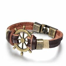 Vintage Bronze Tone Rudder Brown Leather Double Cord Wristband Bracelet for Men
