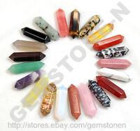 5pcs Natural Gemstones Hexagonal Pointed Reiki Chakra Raw Wand Pendant Healing