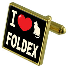 I Love My Cat Gold-Tone Cufflinks Foldex