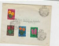 Luxembourg 1955 Mixed bulb Flowers Mondorf-Les-Bains Crest stamps cover ref21830
