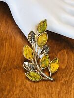 VINTAGE Signed MONET Iridescent Lemon Lime Molded Glass Leaves Gold Tone Brooch