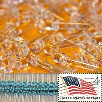 100x Orange 5mm Flat Top LEDs Wide Angle Light 12v Resistor Kit USA