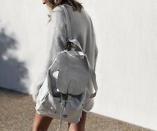 LEATHER BACKPACK WHITE STAMPED LEATHER Custom Made in Bali- LG- One of a Kind