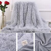 AU_ DI- Bed Sofa Bedspread Bedding Sheet Throw Blanket Soft Fluffy Shaggy Warm N