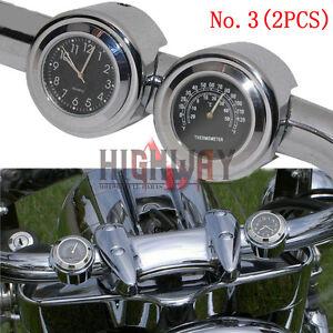 "7/8"" 1"" Motorcycle Waterproof Dial Handlebar Mount Clock Watch Black Chrome Gold"