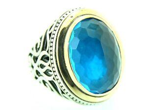 Turkish Handmade Jewelry 925 Sterling Silver Aquamarine Stone Men Ring Sz 10
