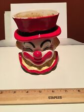 Vtg Lefton 1984 Happy Smiling Clown Planter Vase 04334 Red Top Hat Yellow Collar