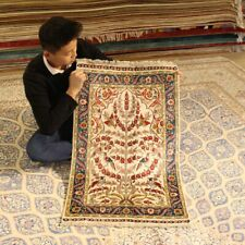 Yilong 2'x3' Floral Hand-knotted Carpet Tapestry Handmade Silk Area Rugs 097B