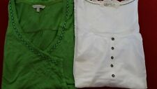 WOMENS FAT FACE WHITE EMBROIDERED TOP & GREEN TUNIC SIZE 12
