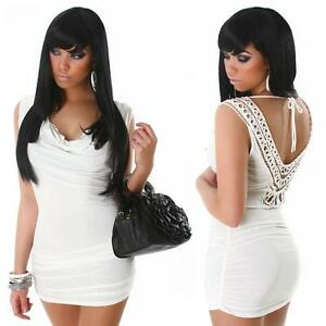 Womens Embroidered Sexy Back Cowl Neck Bodycon Off Party Mini Dress Size 10 12