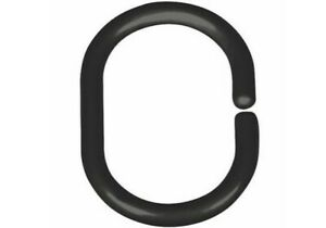 Shower Curtain Hooks Bathroom Replacement C-Rings 12 Pieces Black And White
