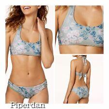 e22f688e35c9f BECCA Serene Printed Metallic Shirred-side Bikini Bottoms Size M # U6 48 N