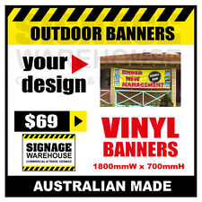 Custom Outdoor Vinyl Banner Sign  - 1800mmW x 700mmH Signage Warehouse