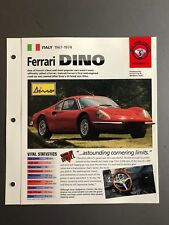 "1967 - 1974 Ferrari Dino IMP ""Hot Cars"" Spec Sheet Folder Brochure Awesome L@@K"
