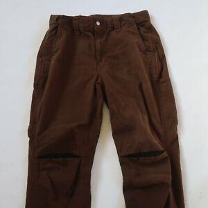 Schmidt Work Wear Mens Solid Brown Utility Khaki Pants Tag 36x30 Measured 34x28