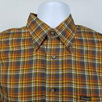 Faconnable Mens Blue Brown Orange Check Plaid Dress Button Shirt Size Medium M