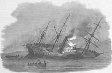 SHIPS. The Orion sinking, antique print, 1850