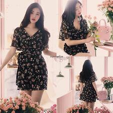 Summer Korean Women Chiffon V Neck Empire Waist Party Slim A Line Mini Dress M