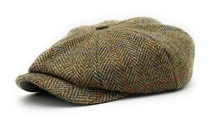 Harris Tweed Newsboy Cap Green Herringbone Made In Scotland
