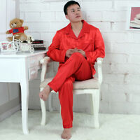 NWT 2PCS Mens Silk Satin Pajamas Sleepwear Pyjamas PJS Long Sleeve M005 M L