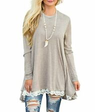 Autumn Women Lace Long Sleeve A-Line Swing Loose Tunic Top Blouse T-Shirt Dress