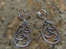 Sterling Silver 925 Dangle Earrings Huggie style w/filagree drop