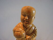 CHINESE CULTURE REVOLUTION HAND  CARVED BOXWOOD FIGURINE BOY  .VERY DETAILED.