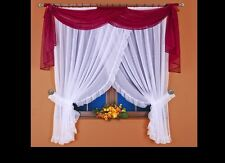 Lovely voile window decoration Net curtain with flounce Scarf Hand Made
