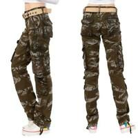 Women Multi-pockets Cargo Overalls Pants Straight Leisure Cotton 100% Trousers D