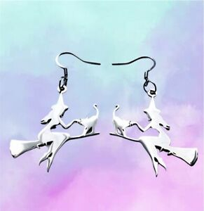 Cute Witch Cat Broomstick Charm Fun Dangle Earrings / Quirky/ Novelty Halloween