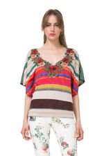 Desigual Striped Applique Floral Neckline Lili Tshirt Top S-L UK 10-14 RRP�49