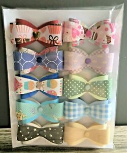 1) Handmade 10 Large Double- Bow Paper Embellishment Card Toppers (set E)