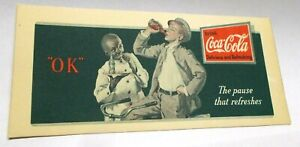 "Vintage Coca-Cola Ink Blotter, ""The pause that refreshes"""
