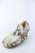 Sea and City Men's Snake Pattern Leather Casual Low Top Slip on Moccasins Shoes