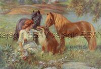 DOG Collie & HORSE Shetland Pony, Beautiful Vintage Print Showcasing Farm Life