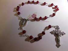 Chaplet of Our Lady of Guadalupe - 8 mm Garnet  Red Rose cut glass bead
