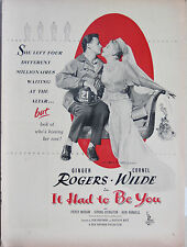 "Original Vintage Print Movie Ad Life ""It Had To Be You"" Ginger Rogers 1947"
