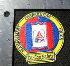 CITGO OIL EMBROIDERED SEW ON  PATCH COOPERATION SAFETY UNION ~ CIT CON ~ 3""