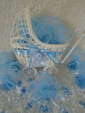 mini Landau bébé contenant à dragées + tulle organza strass décoration baptême
