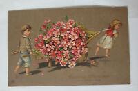 Geburtstag, Kinder, Schubkarre, Blumen, 1910,  Prägekarte ♥ (33890)