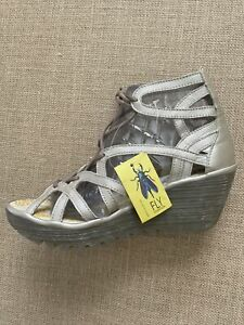 New FLY London Yuke Leather Lace-Up Gladiator Wedge Sandals EU 38 US 7-7.5
