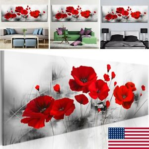 Single Red Poppy Rose Flower Canvas Printed Art Painting Picture Home Wall/Decor
