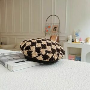 Houndstooth Beret Hat French Beret Tweed Winter Hat Flat Painter Hat Autumn Hats