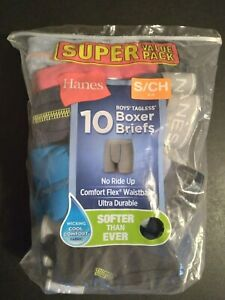 9 Pack Boy's Hanes Tagless Wicking Cool Comfort Flex Boxer Briefs Size S 6-8