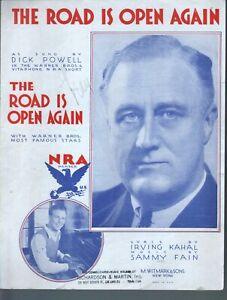 Road Is Open Again 1933 Dick Powell Franklin Delano Roosevelt Sheet Music